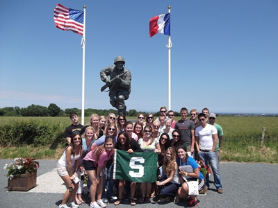 "Group Photo at Recently Dedicated ""Major Dick Winters Statue"" in Normandy!"